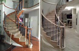 stairs and railings before and after