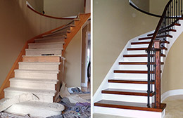 Before and after stairs and railings