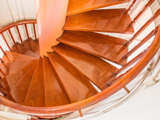 Round wooden stairs
