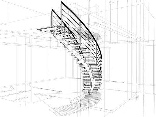 Architectural drawing of custom stairs